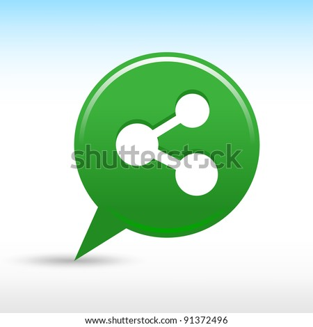 Green share icon with white sign. Satin map pin web button round shape with drop gray shadow on white background. This vector illustration saved in 8 eps