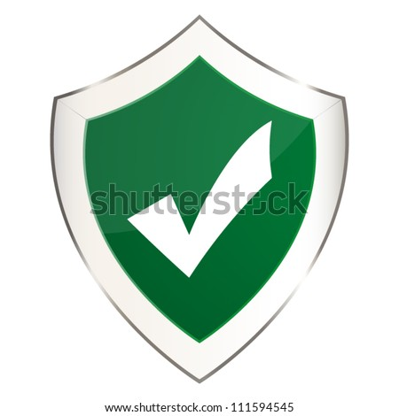 Green shield with a check mark