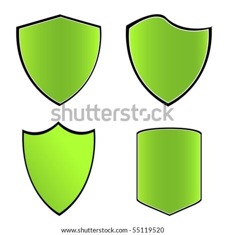 Green shields. Vector illustration
