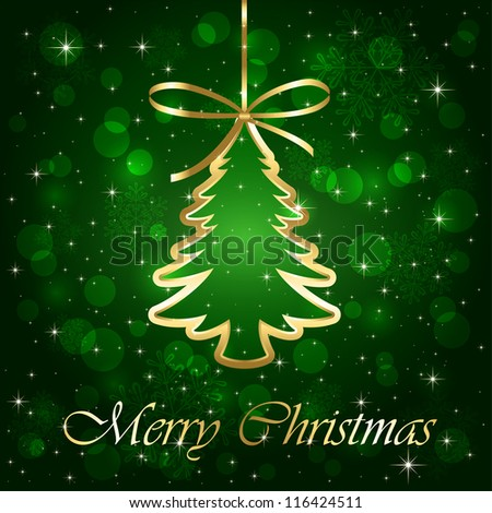 Green shiny background with Christmas tree, illustration.