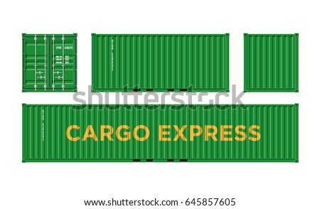 Green Shipping Cargo Container for Logistics and Transportation on White Background