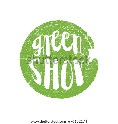 Green Shop circle letters in grunge round background. Vector logo illustration.