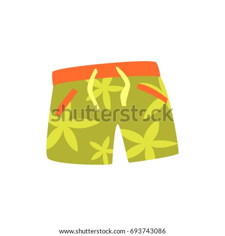 Green shorts for swimming cartoon vector Illustration
