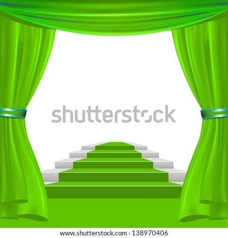 green show theater curtain to place your concept or object