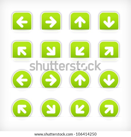 Green sign arrow sticker on cut paper pocket. Web button blank satin circles and rounded square shapes with gray drop shadow on white background. This vector illustration design element saved 10 eps