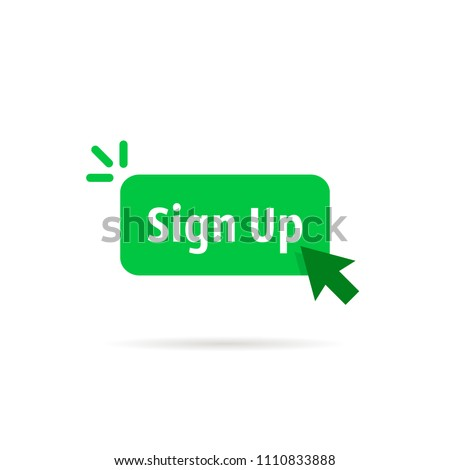 green sign up button isolated on white. flat cartoon modern logotype graphic art design illustration element. concept of signup on site or apply now to community and open registration