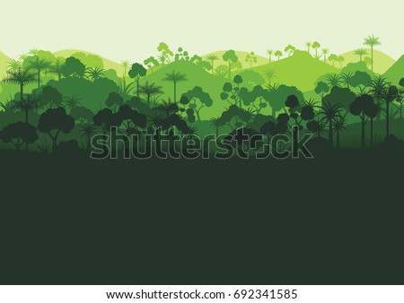 green silhouette forest