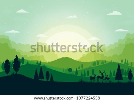green silhouette nature