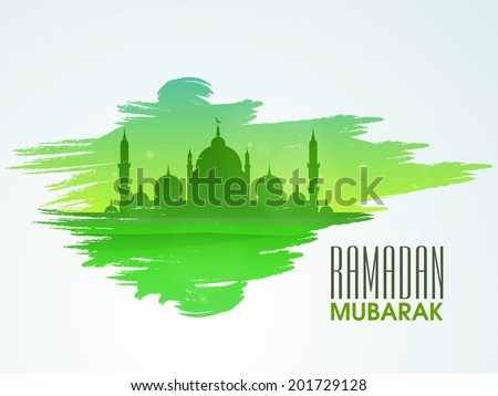Green silhouette of mosque on green and blue background for holy month of Muslim community celebrations Ramadan Mubarak