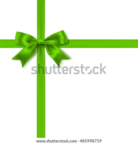 green silky bow and ribbon on