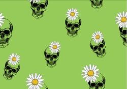 green skull daisy flower hand drawn spring daisy flower vector fabric towel design pattern polka dot summer print  ditsy flower  stationery,towel,linens,sationary,pack,packet.scary