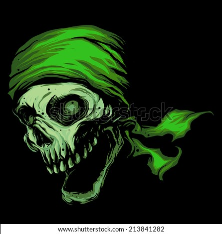 green skull wearing headband
