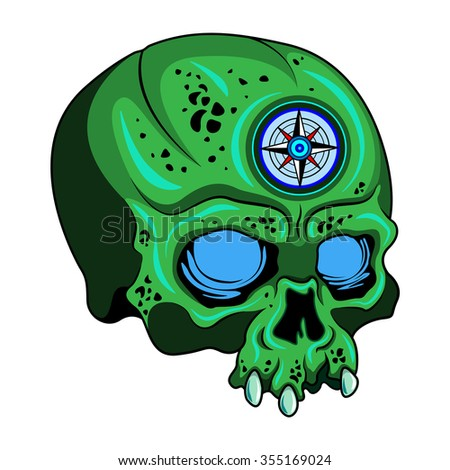 green skull with wind rose