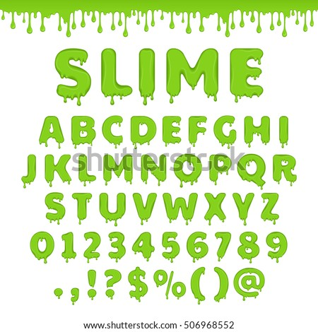 green slime font alphabet with