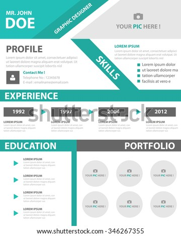 green smart resume cv template layout for job application stock    green smart resume cv template layout for job application