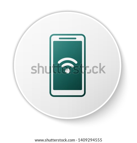 Green Smartphone with free wi-fi wireless connection icon isolated on white background. Wireless technology, wi-fi connection, wireless network. White circle button. Vector Illustration