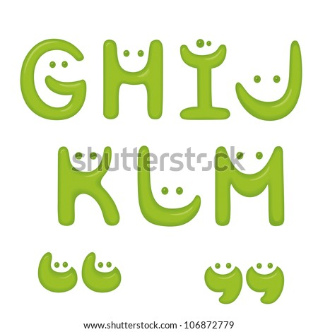 Green Smile alphabet. Letters G, H, I, J, K, L, M and quotes.