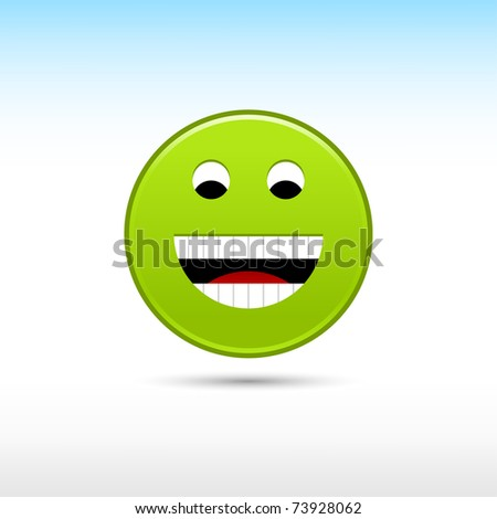 Green satin smiley face web button with gray drop shadow on white