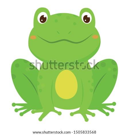 green smiling childish frog