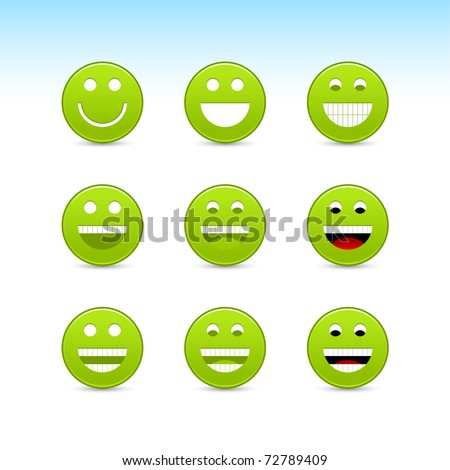 Green smiling face web button with gray shadow on white background