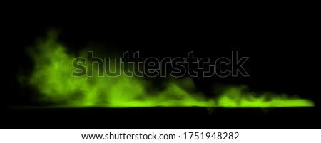 Green smoke on transparent background. Bad smells most toxic smog. Stock vector illustration
