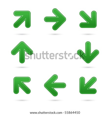 Green smooth arrow sign web 2.0 button. Colorful shapes with shadow on white background