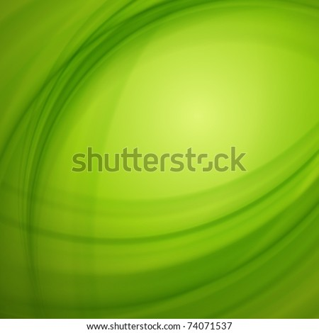 Green smooth light lines vector background. Eps 10. - stock vector