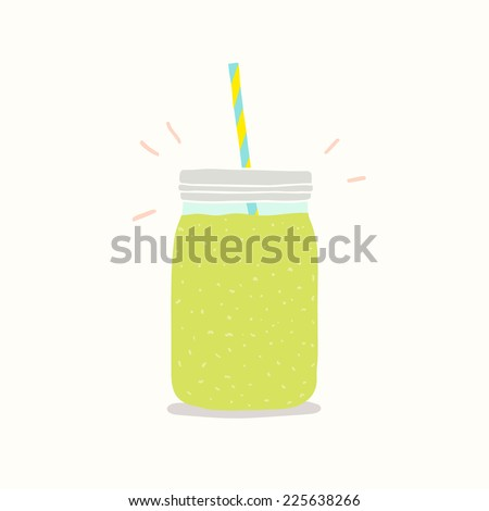 green smoothie in jar