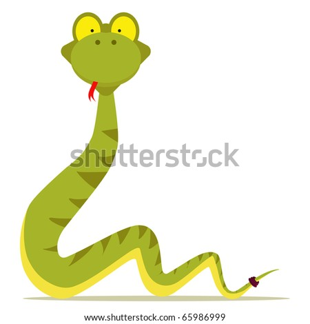 green snake cartoon with red