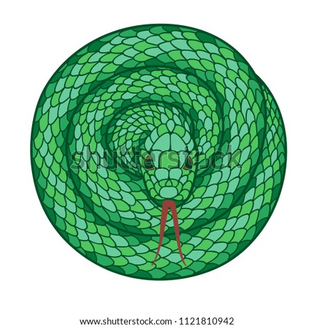 Stock Photo Green snake in a tangle. Volume vector isolated drawing on white background.