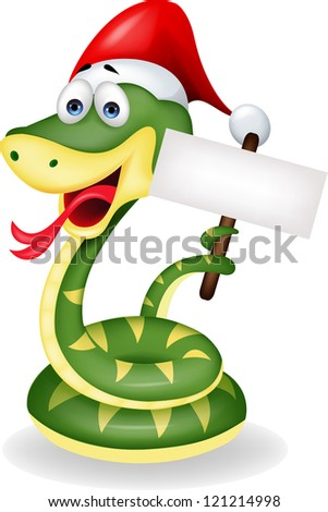 Green snake with blank sign