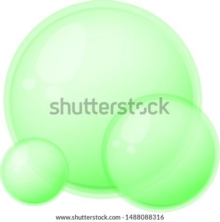 Green Soap bubbles. Cartoon Soap bubbles. Transparent Soap bubbles. Vector Soap bubbles.