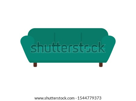 Green sofa flat icon. Vector Green sofa in flat style isolated on white background. Element for web, game and advertising