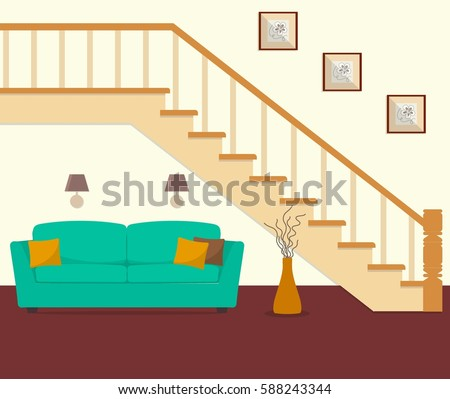 green sofa  located under the