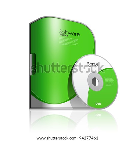 Green Software Box Package With Rounded Corners - stock vector