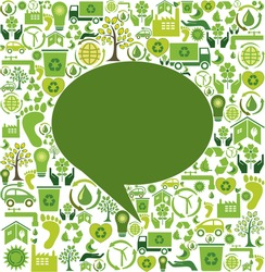 Green speech bubble and eco icons