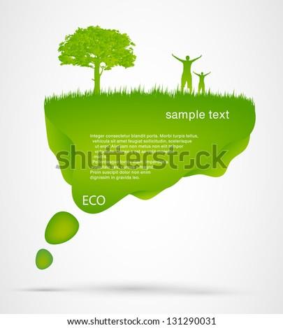 Green Speech Bubble with man