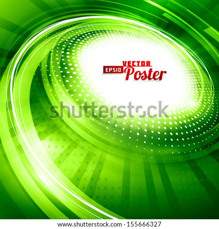 Green spiral. Abstract background. Vector