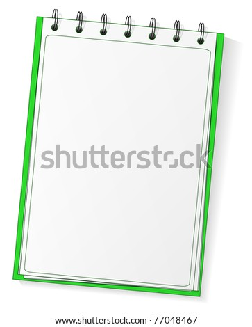 Green spiral vector blank notebook