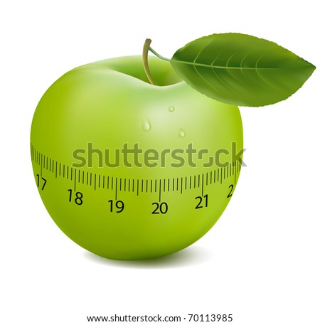 Green sports apple. Concept of duet. Vector illustration.