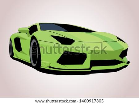 green sports car vector layout