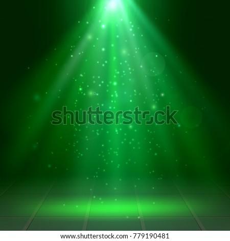 green spotlights  fog  smoke