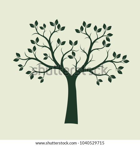 Green Spring Tree with Leaves. Vector Illustration.