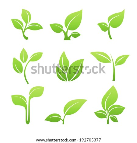 Green sprout green leaves symbol vector icon set file