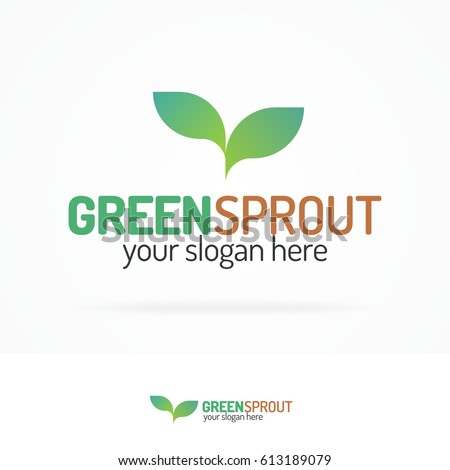 Green sprout logo set with silhouette leaves modern color style for your eco company, agriculture, nature firm, ecology, healthy organic and farm fresh food etc. Vector Illustration