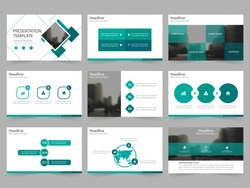 Green square Abstract presentation templates, Infographic elements template flat design set for annual report brochure flyer leaflet marketing advertising banner template