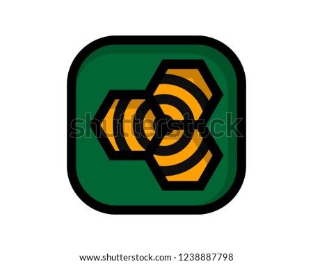 green square honeycomb design