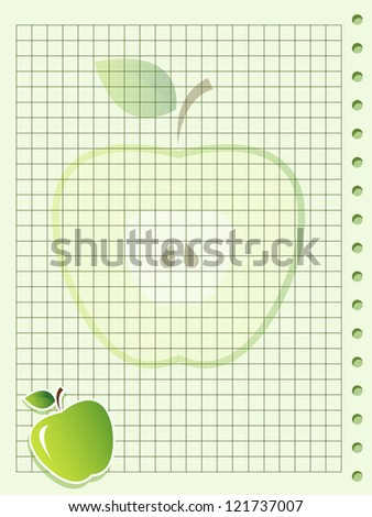 Green squared paper sheet background with apple