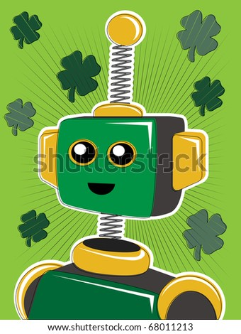 Green St. Patrick Robot Portrait with Clovers