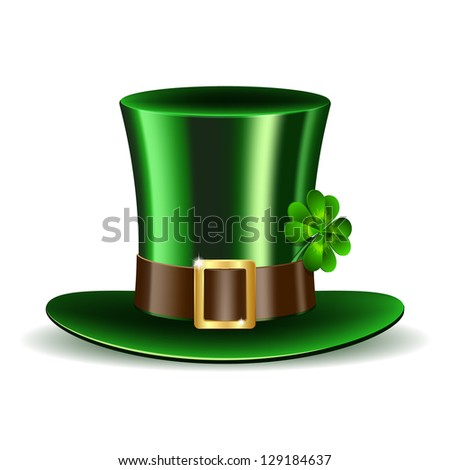 Green St Patrick's Day hat with clover Vector illustration